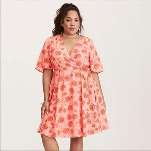 Torrid Floral Boho Wrap Dress Coral NWOT